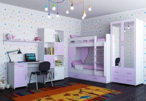 детская спальня для девочек с двухярусной кроватью