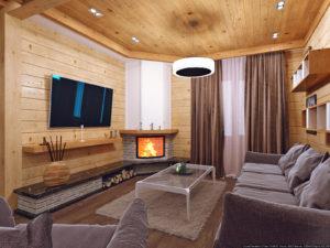 дизайн гостевой комнаты с камином