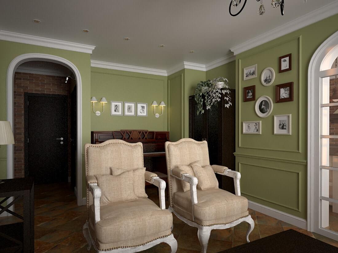 дизайн гостинной в зеленых тонах