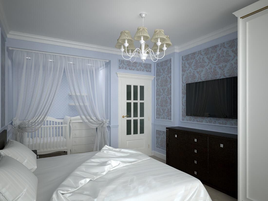 дизайн спальни с колыбельной