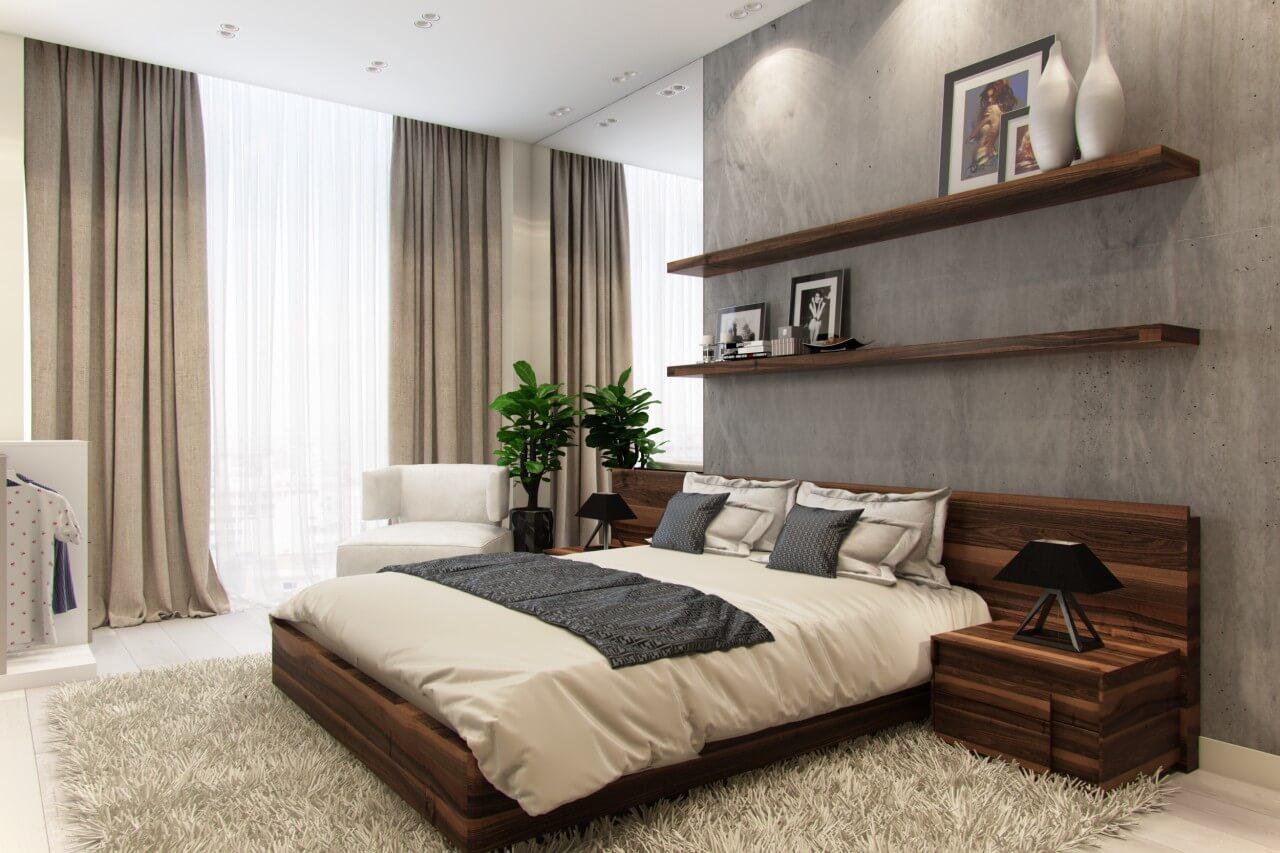 просторная спальня в стиле минимализм