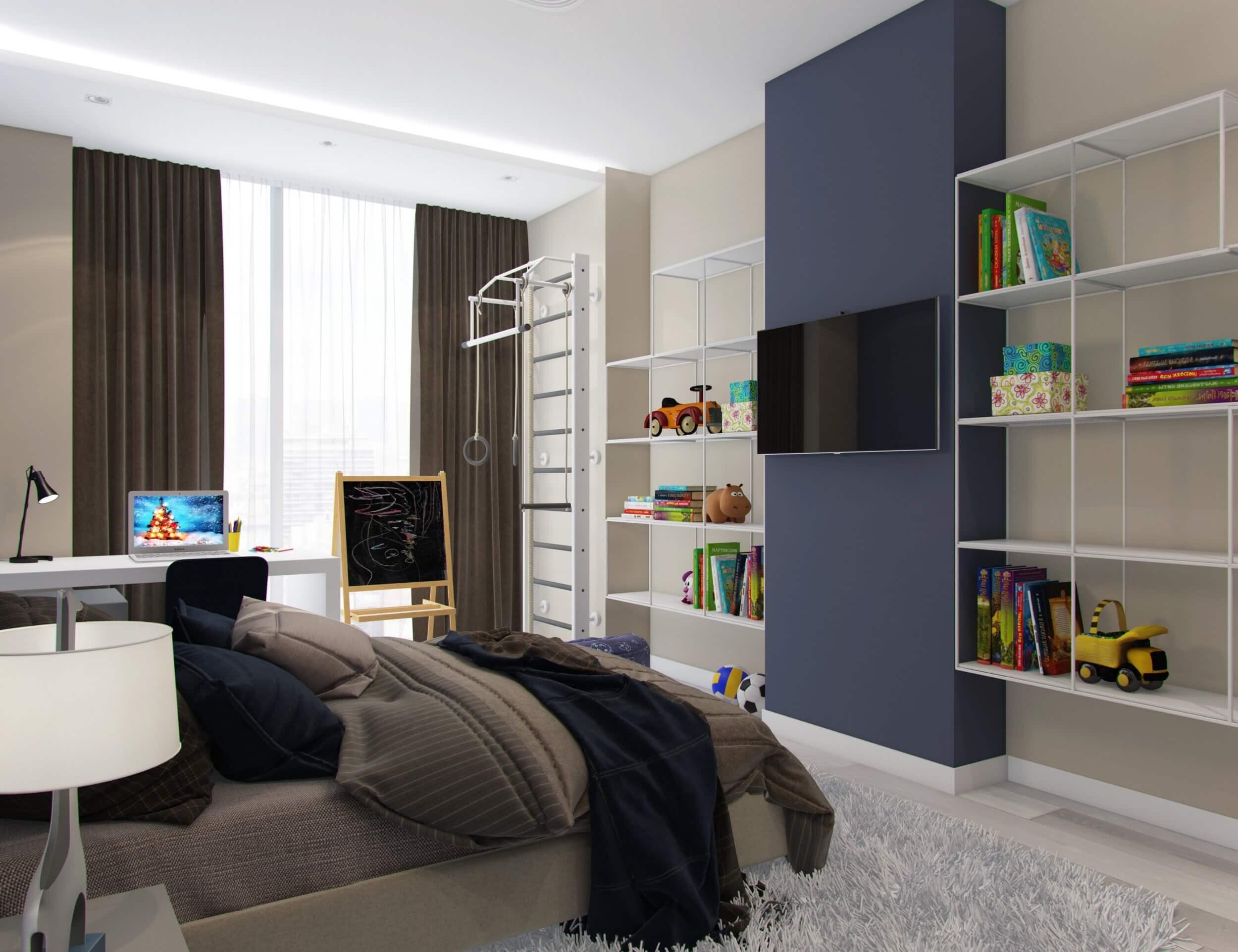 интерьер большой детской спальни