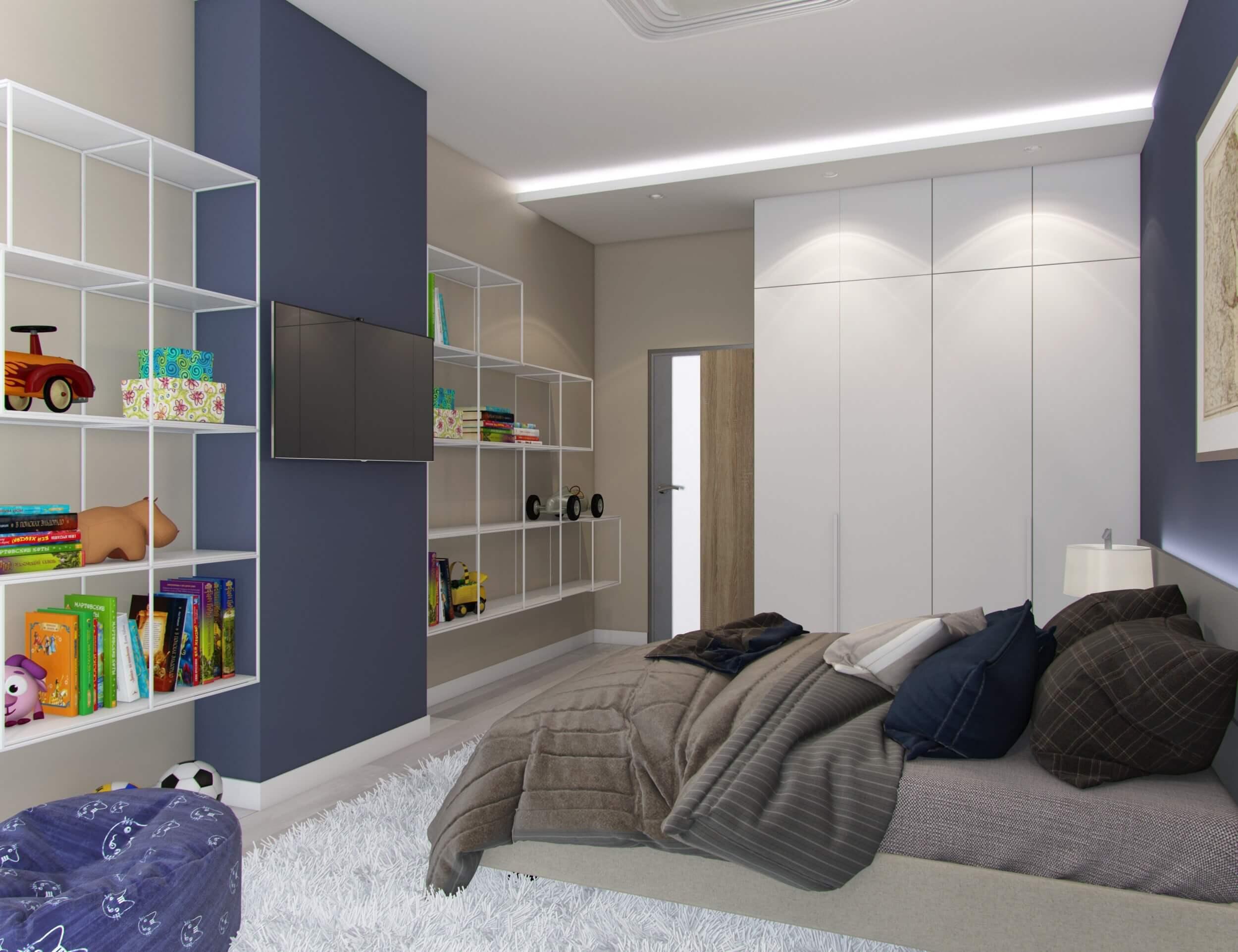 дизайн просторной детской комнаты