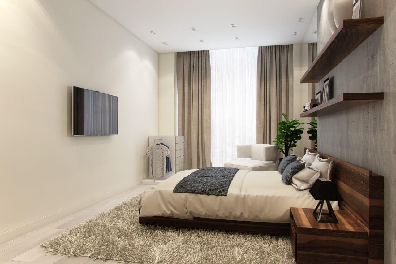 интерьер спальни в стиле минимализм