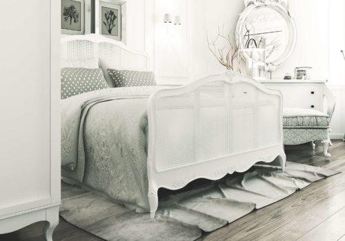 дизайн спальни со шкавом и большим окном