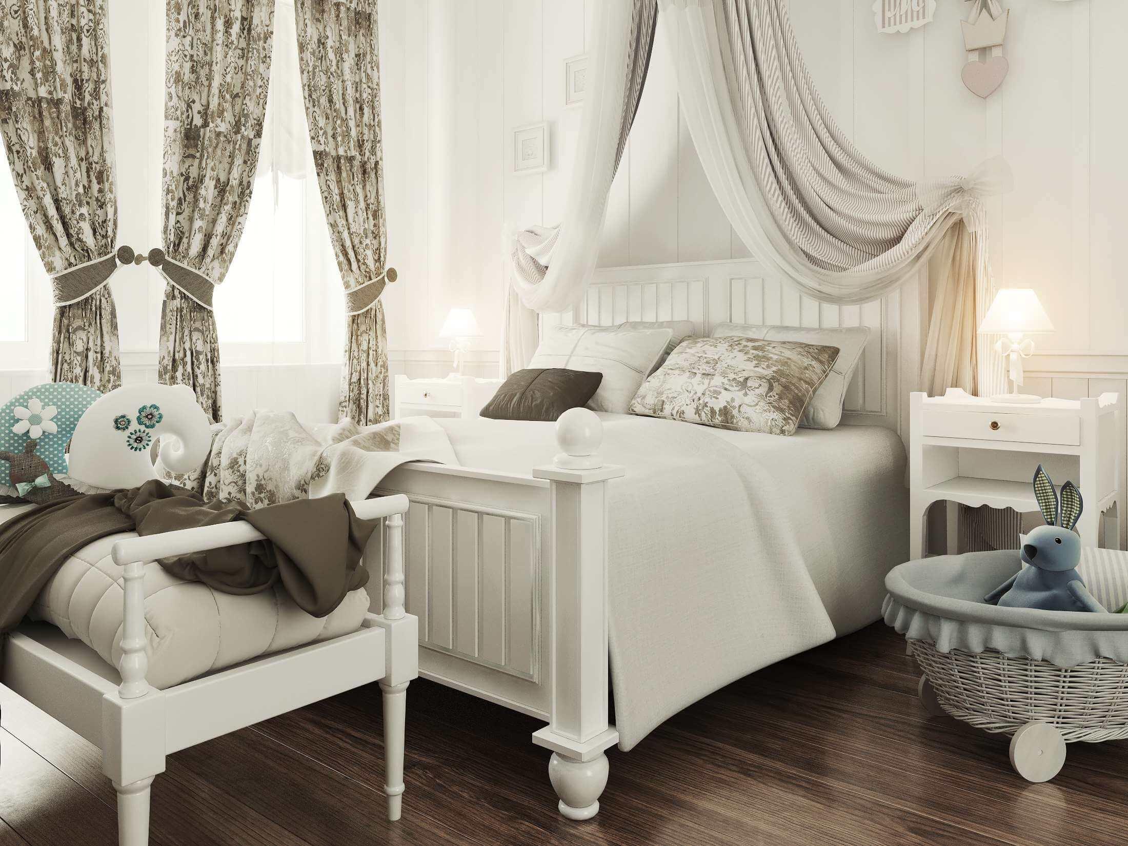 дизайн детской спальни с большой кроватью