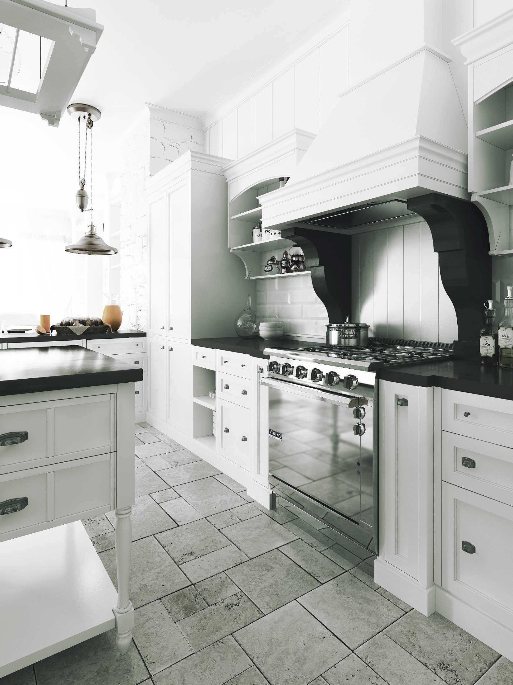 дизайн кухни в черне-белых тонах