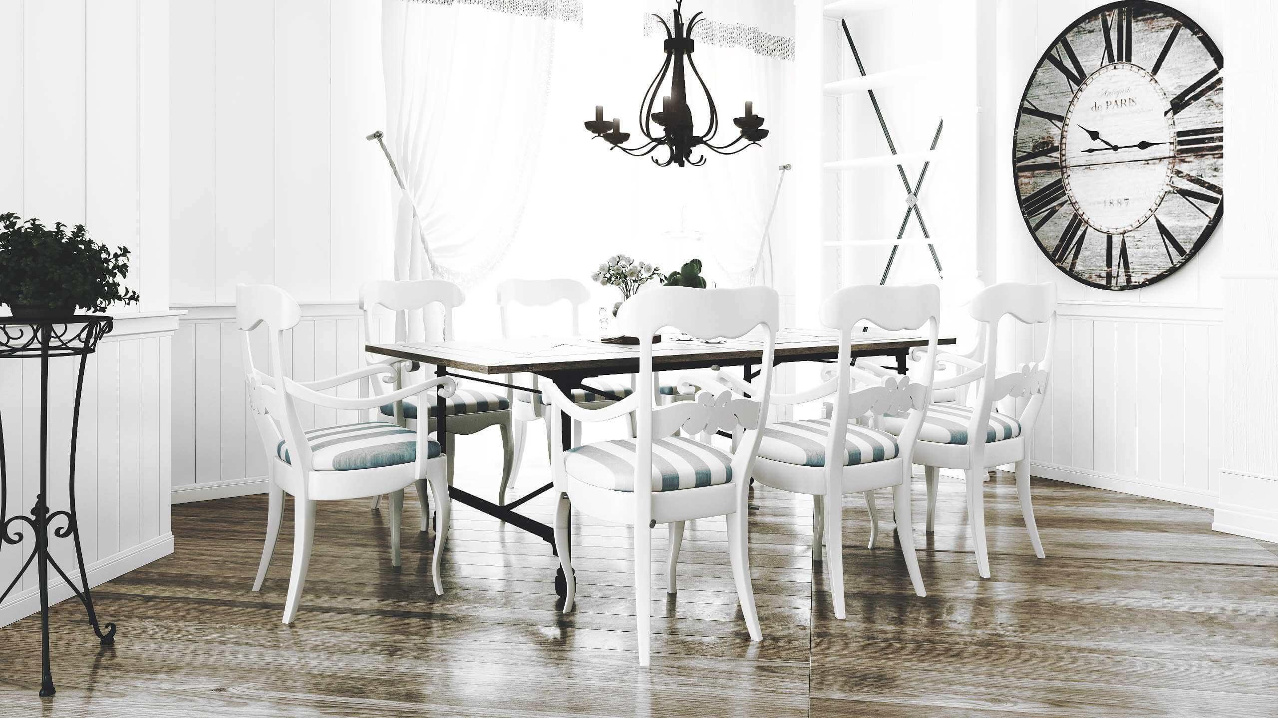 интерьер просторной кухни с обеденным столом