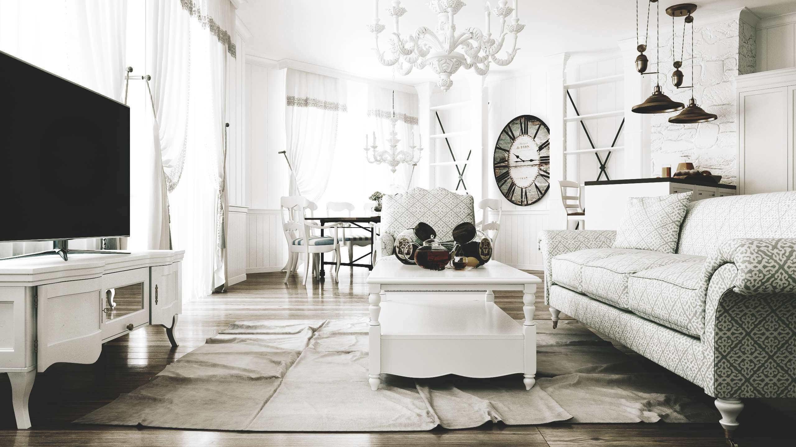 дизайн просторной гостинной
