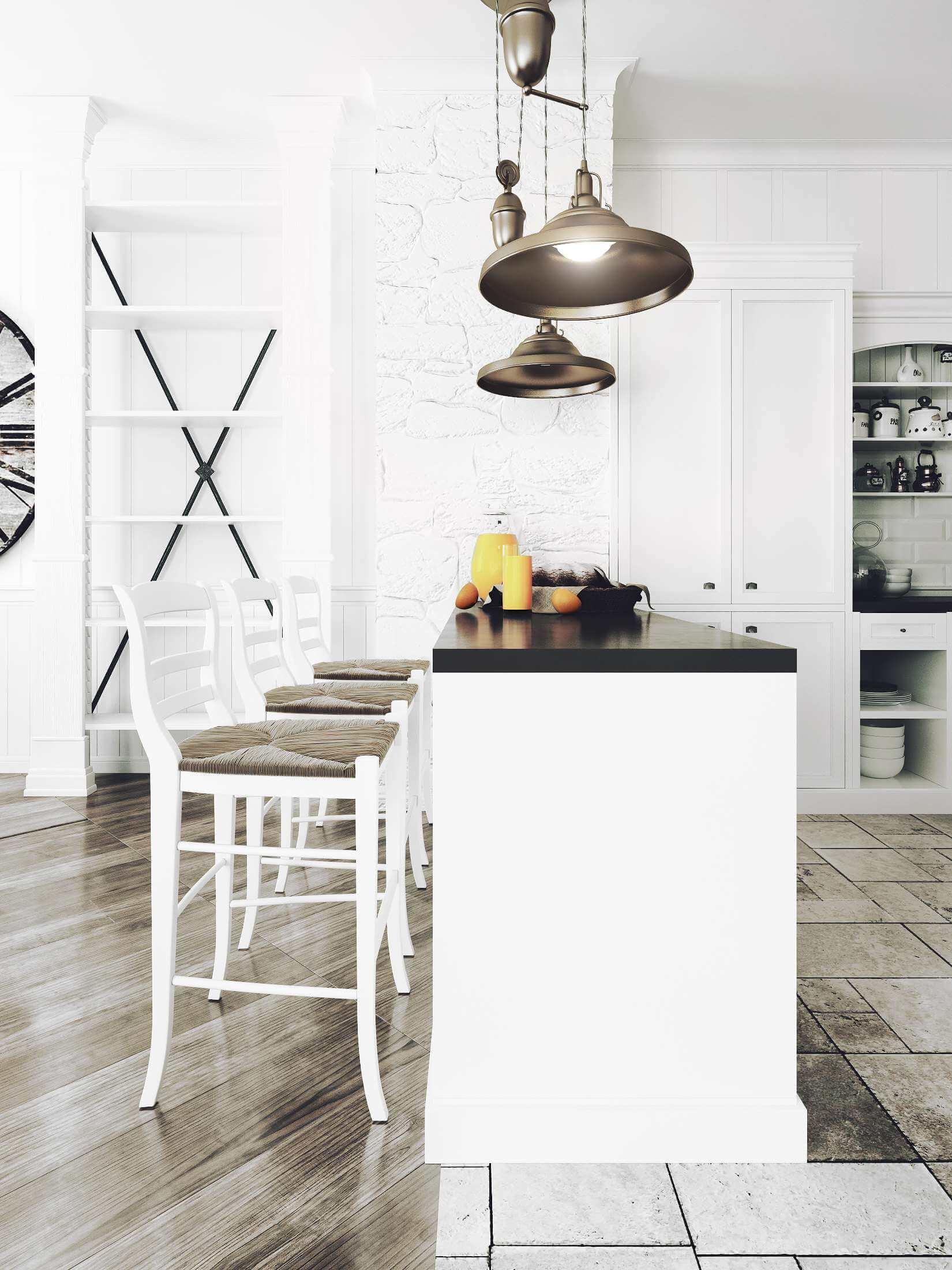 дизанй кухни в белых тонах