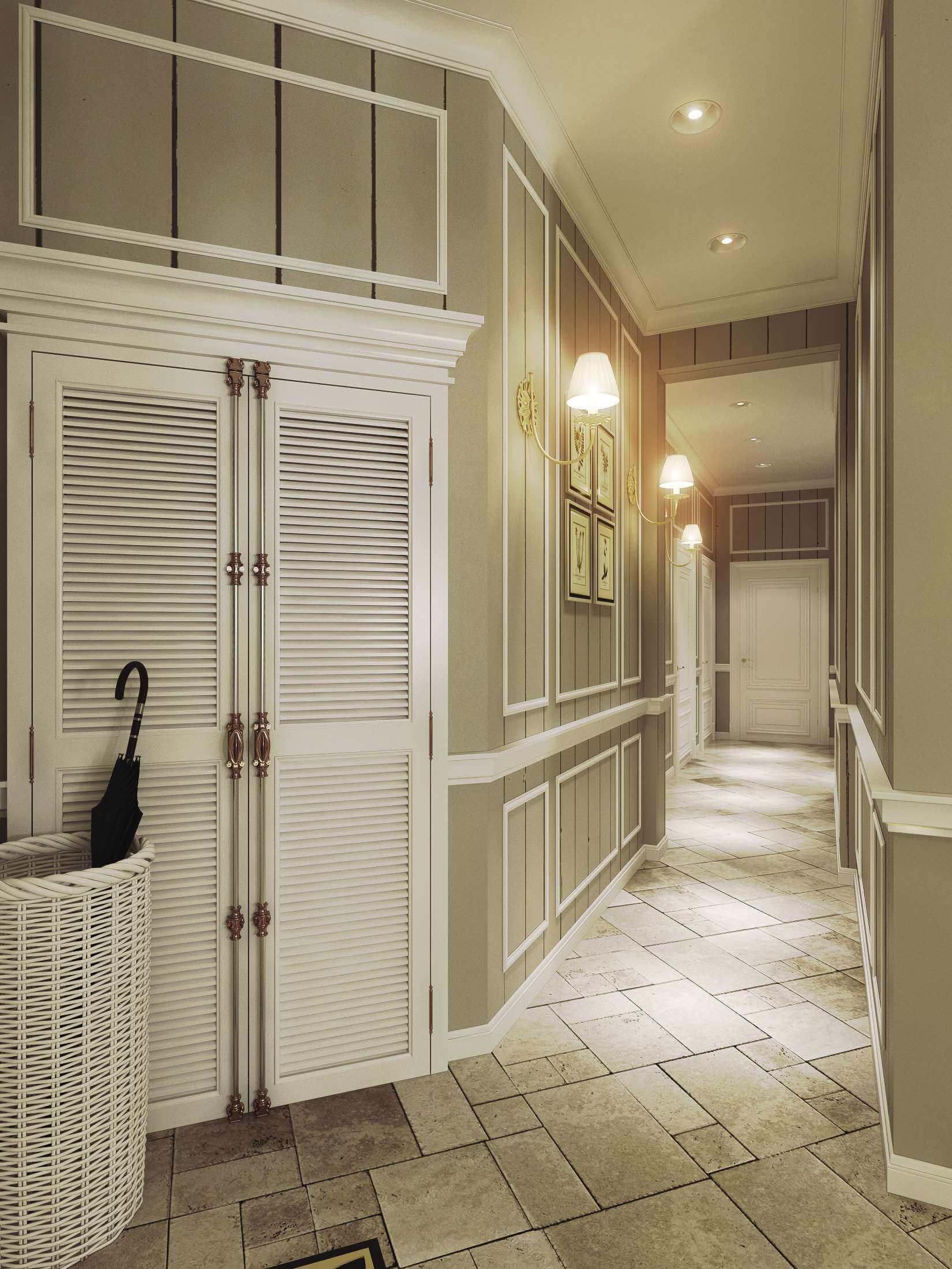 интерьер длинного коридора в квартире