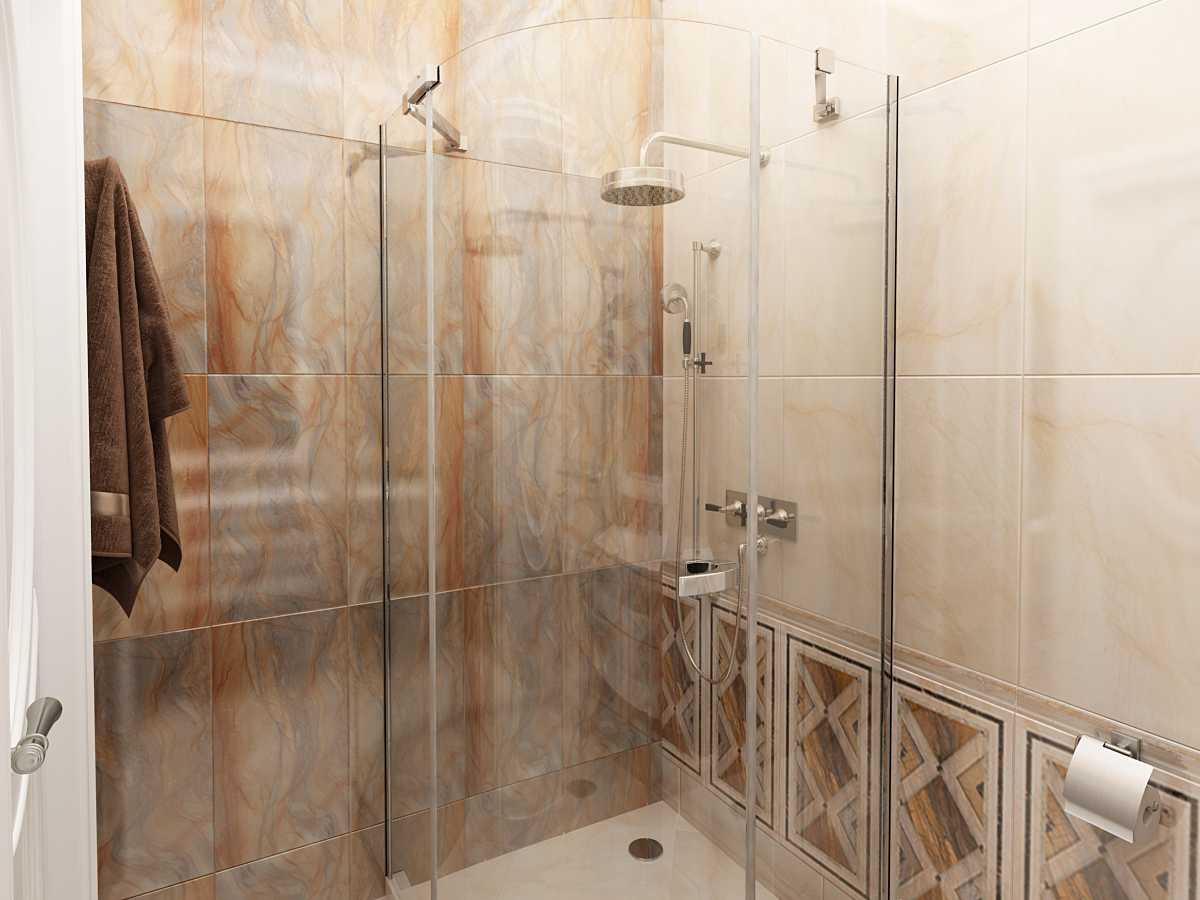 душевая в ванной в стиле арт деко