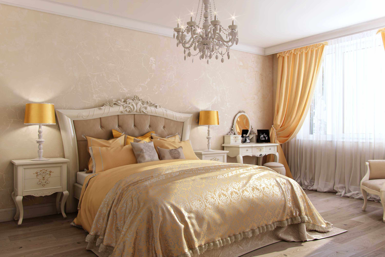 интерьер большой спальни в стиле арт деко