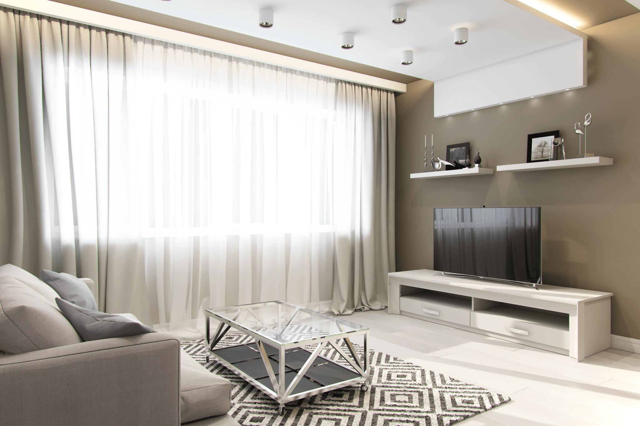 дизайн гостинной стиле минимализм