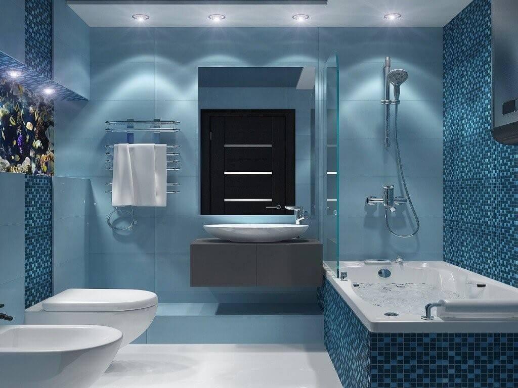 дизайн ванной комнаты в синих тонах
