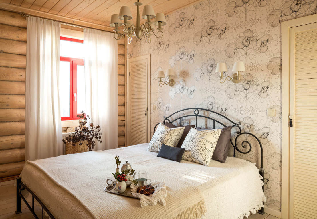 интерьер спальни в кантри стиле