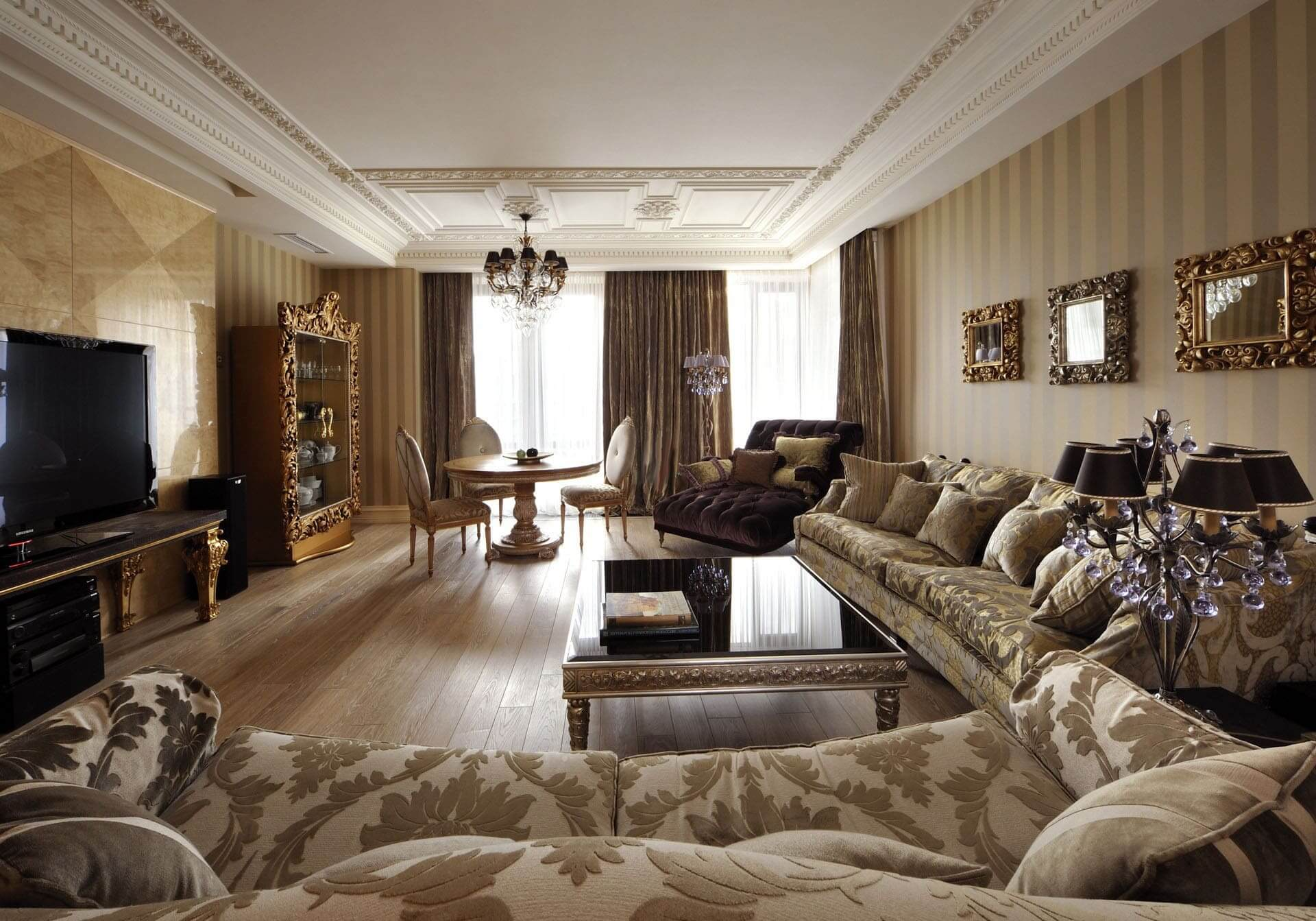 гостинная в коттедже в стиле арт деко