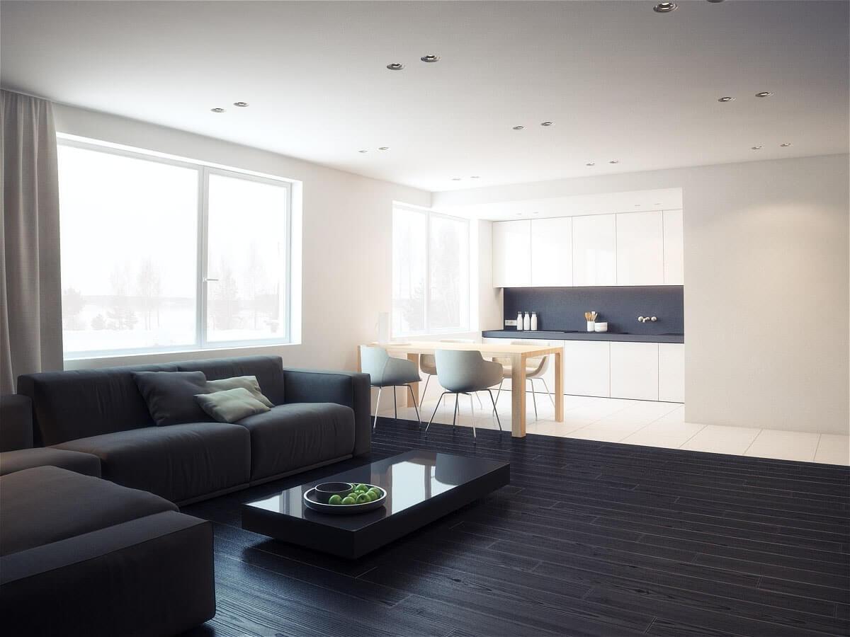 кухня совмещенная с гостинной стиле минимализм