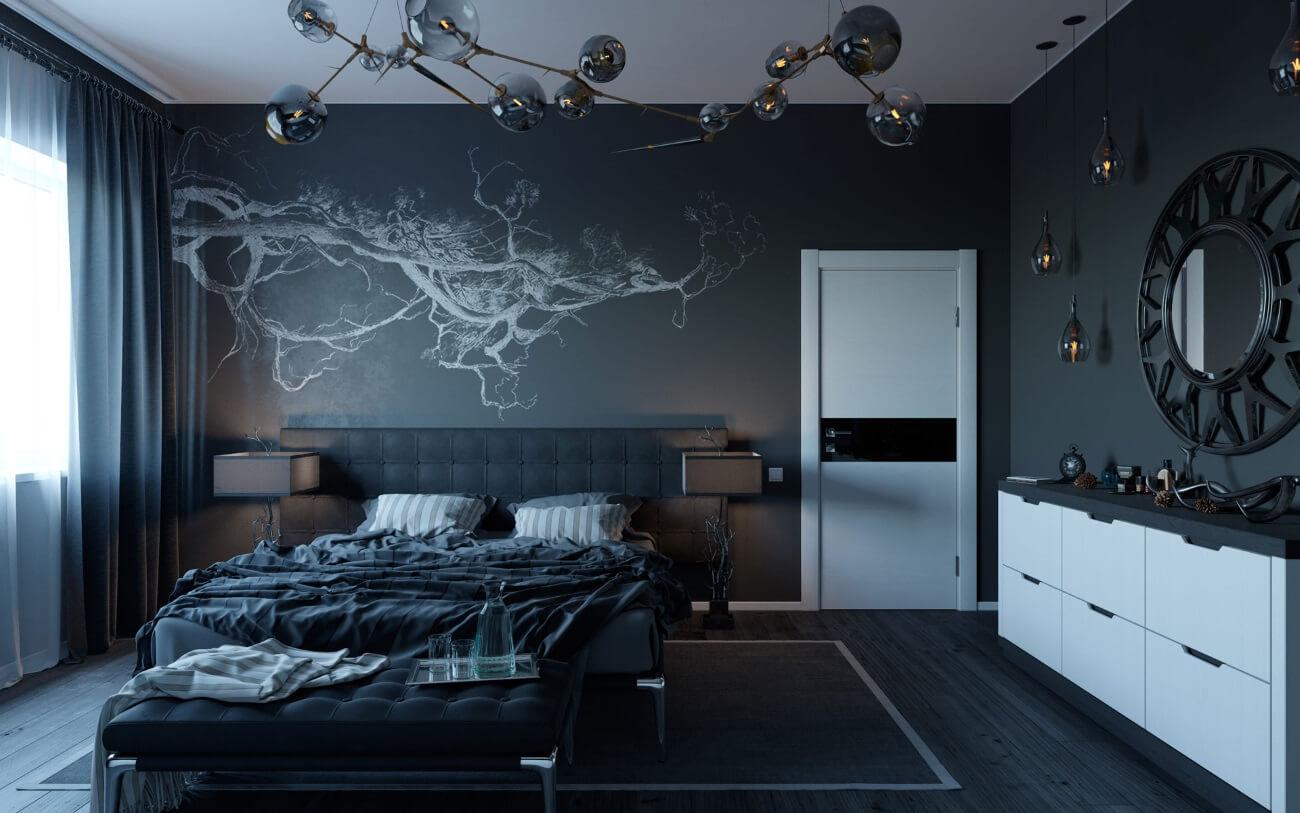 ремонт спальни в холодных тонах